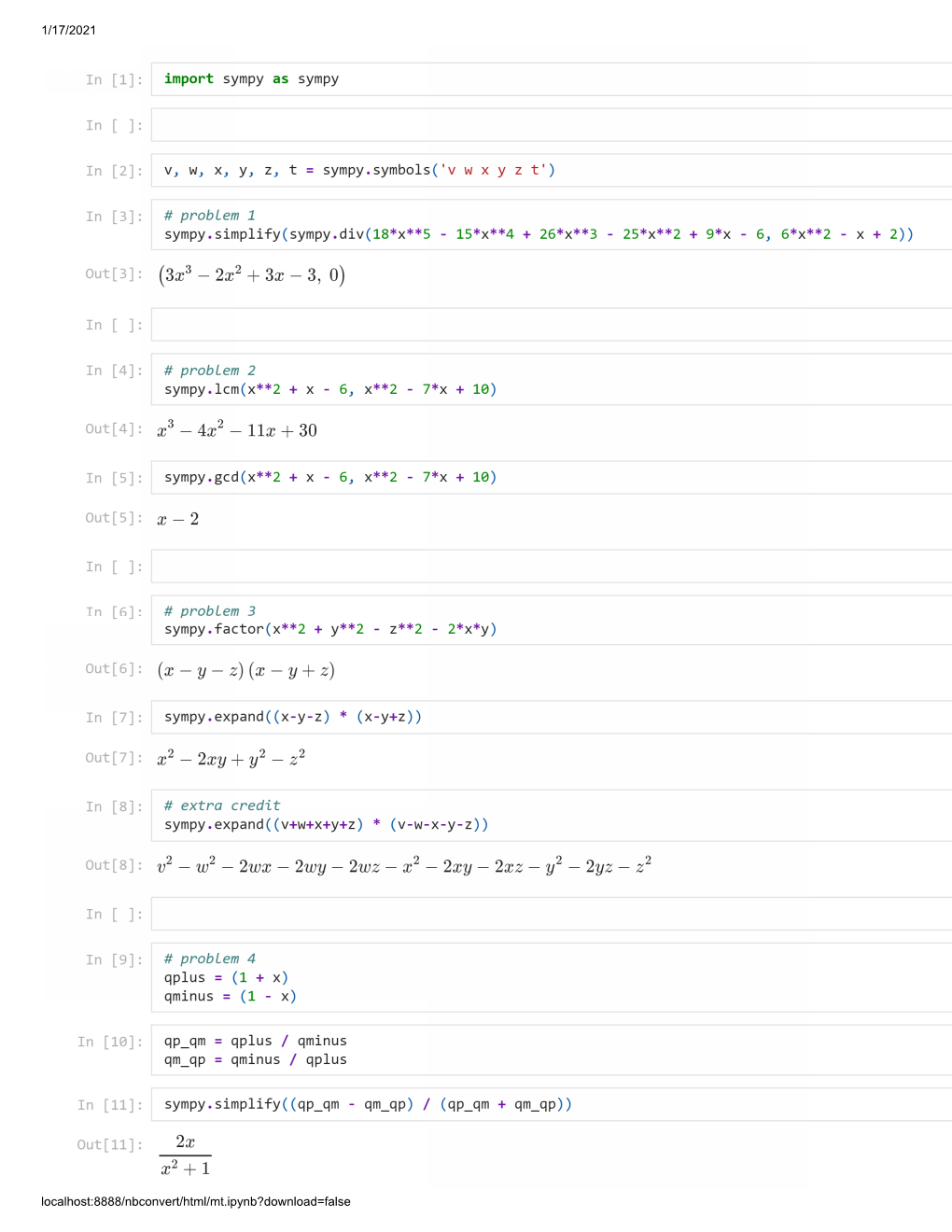 Jupyter notebook -- page 1 of 2